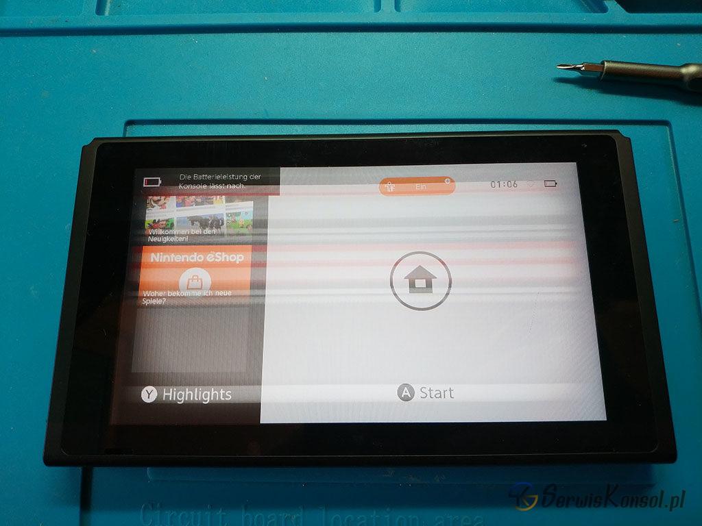Uszkodzony wyświetlacz Nintendo Switch